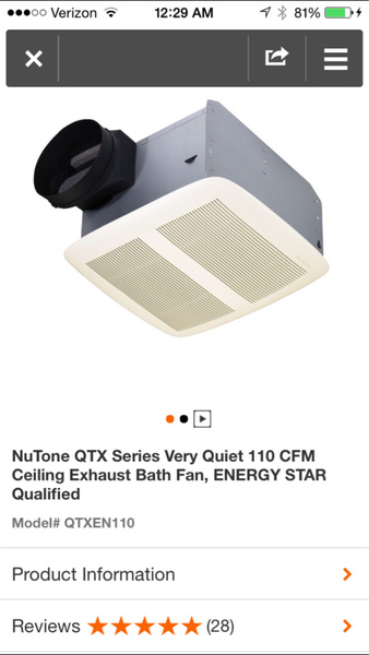 Bathroom Exhaust Fan Directly Above Shower Stall
