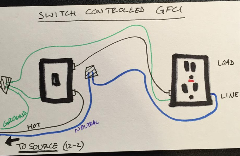 wire a switch to power a gfci outlet electrical diy chatroom switch and gfi outlet diagram wire a switch to power a gfci outlet image_1464363119997 jpg