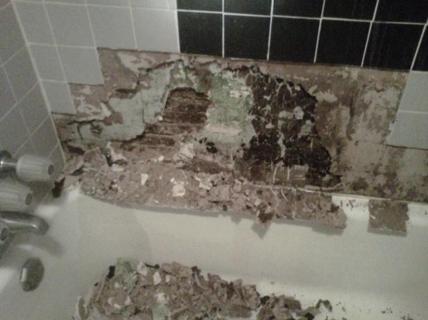Repairingredo Of S Home Bathroom Wall Building Construction - Redoing bathroom walls