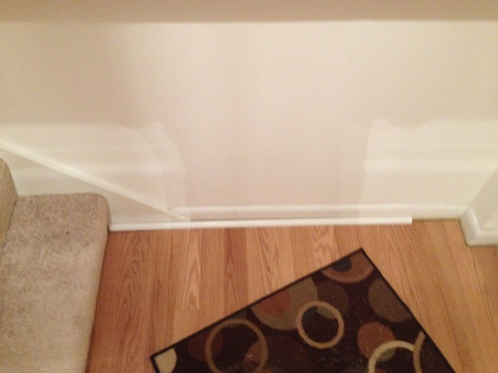 Stair Baseboard Uneven With Floor Baseboard. Need To Install Quarter  Round. Img_0068.