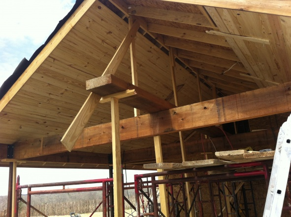 Painting Rough Cedar Ceiling Beams: Staining 1x6 Yellow Pine