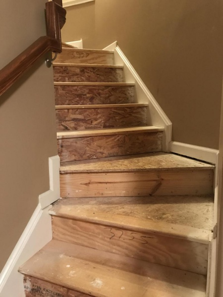 Beautiful Hardwood And Particle Board Mix Stairs Under  Carpet Img_0692_1501646898927 ...