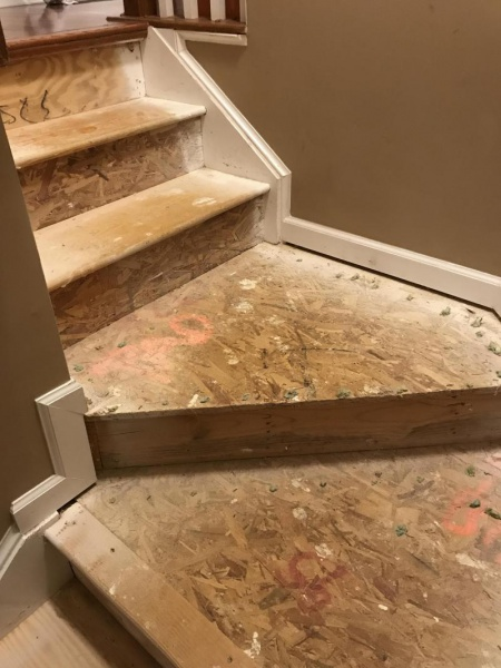 Help Hardwood And Particle Board Mix Stairs Under Carpet