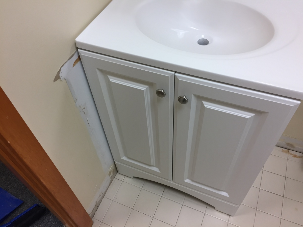 Replaced Bathroom Vanity Need To Repair Wall Damage