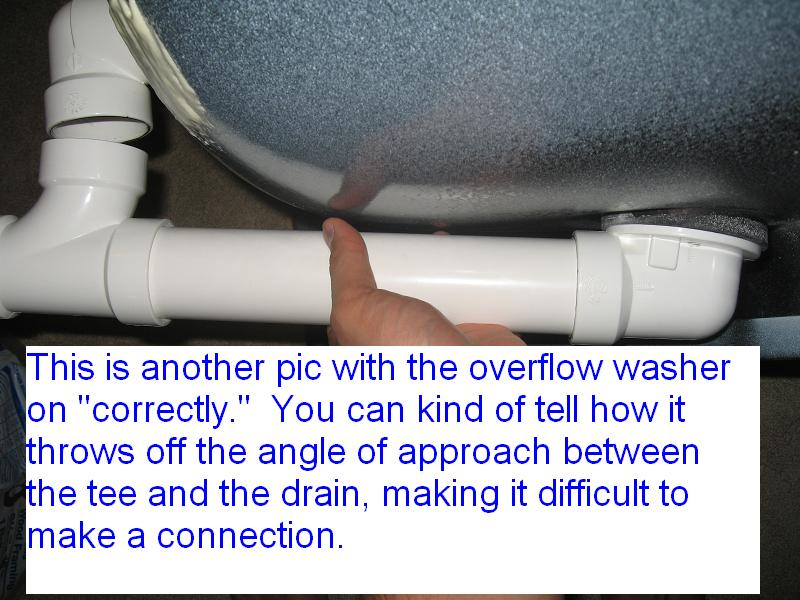 New Drain And Overflow Assembly Not Fitting Properly To