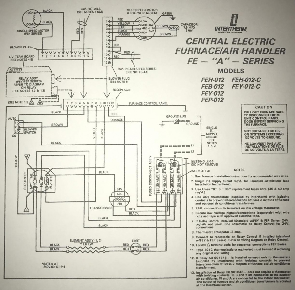 1991 intertherm nordyne furnace with added ac split system hvac York Furnace Wiring Diagram