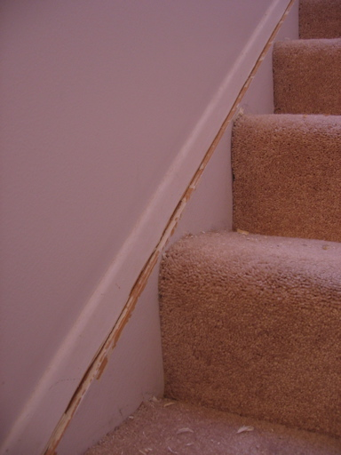 Baseboard trim gaps on stairs general diy discussions - Wood filler or caulk for exterior trim ...