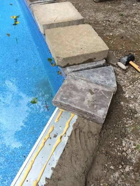pool coping installation with concrete pavers - concrete, stone