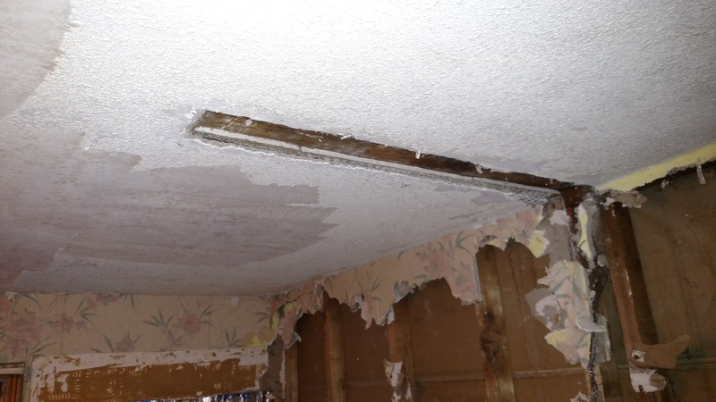 how to skim coat rock lath ceiling with moldy area. Black Bedroom Furniture Sets. Home Design Ideas