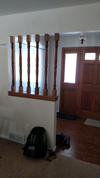 Half wall with spindles remodeling diy chatroom home for Can a load bearing wall be removed