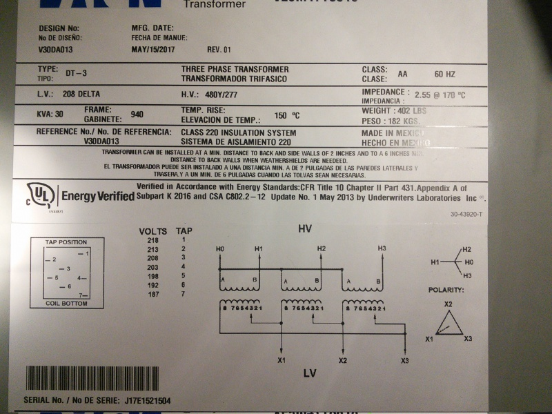 Need Help  I U0026 39 M Installing 3 Phase Transformer  208v Delta To 480v Y - Electrical