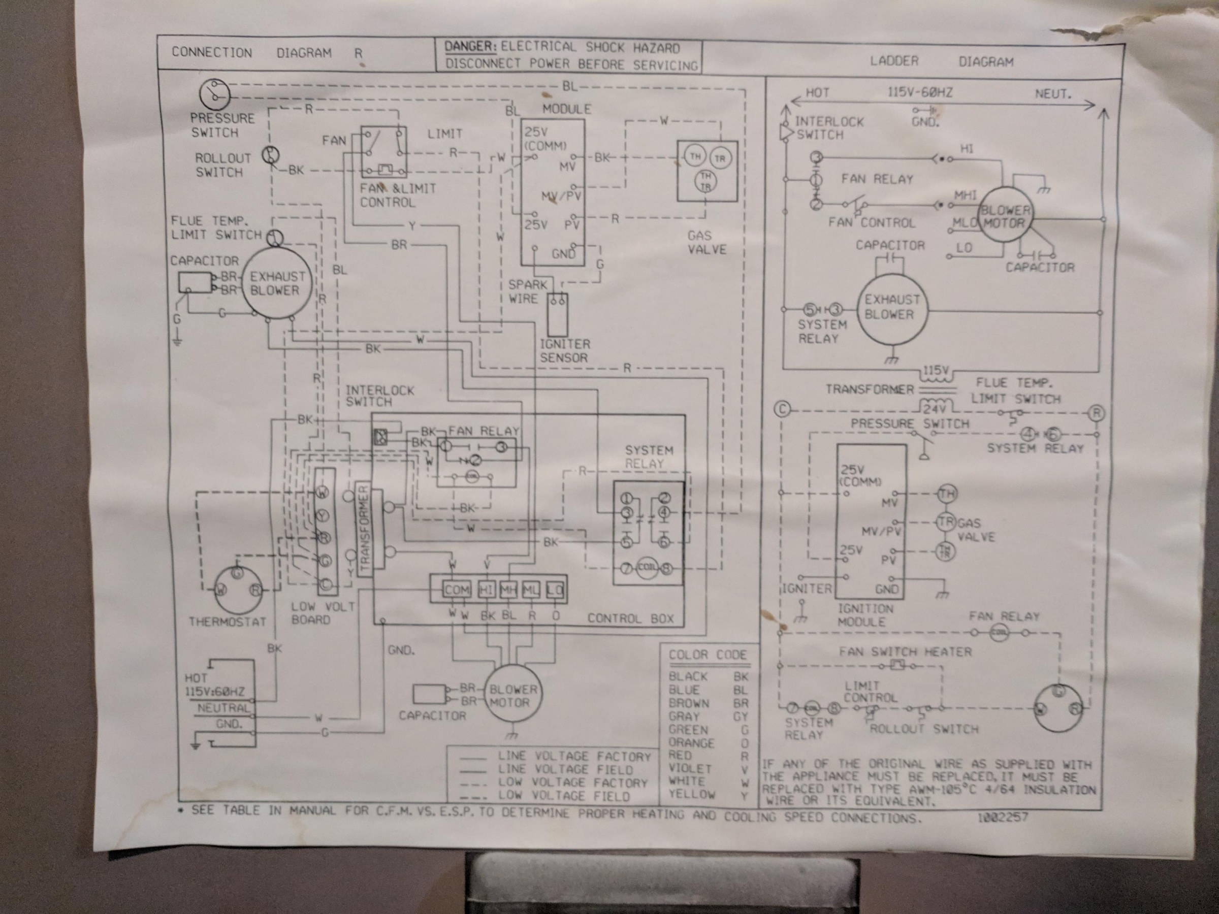 Old Whirlpool Gas Furnace Wiring Diagram on