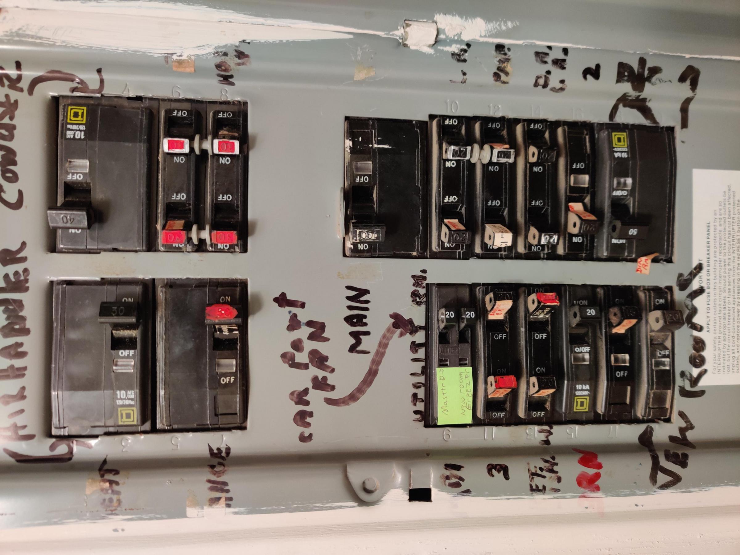 Unusual  I Think  Breaker Box Layout  - Electrical
