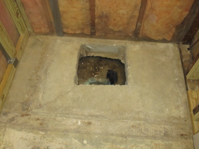 Hole In Slab Around Shower Drain, How To Install A Tub Drain In The Basement