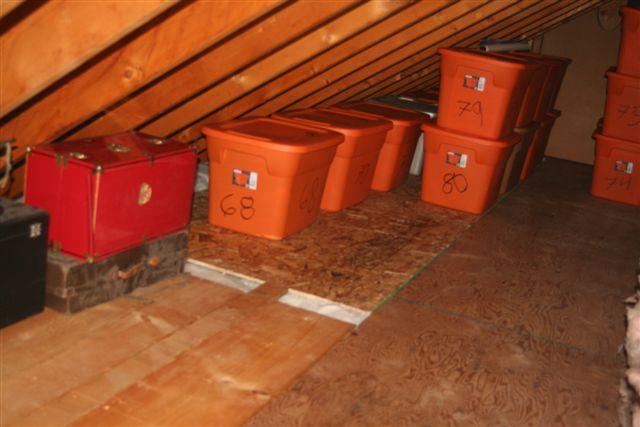 Small Attic insulation added in small attic & stuff organized - project