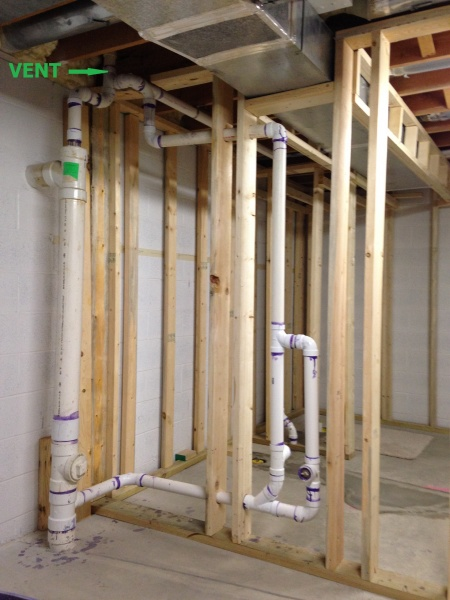 Basement Bathroom Use Shower Vent For Toilet Plumbing