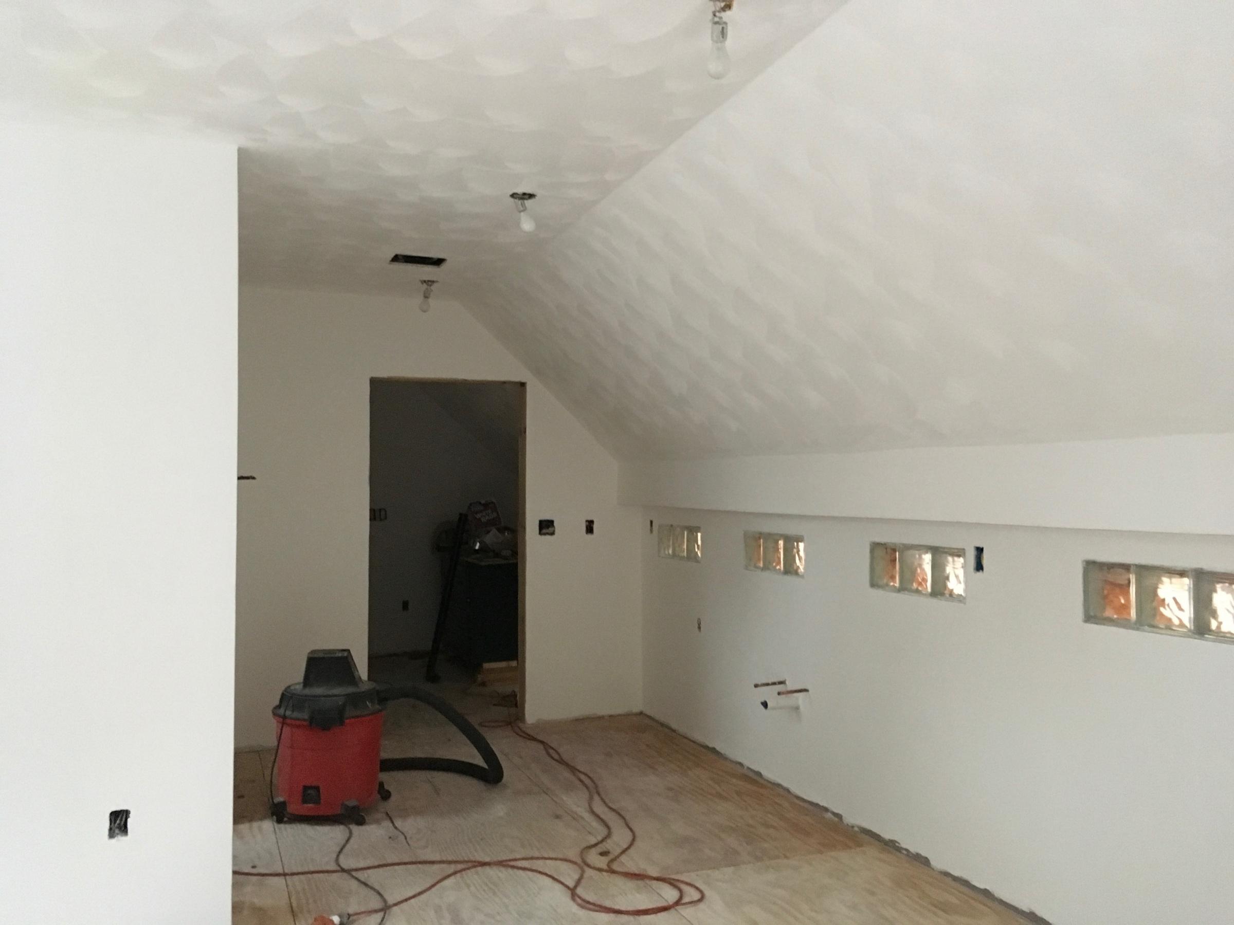 Painting New Blue Board W Veneer Plaster Amp Slanted Ceiling