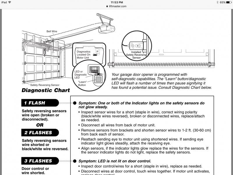 Chamberlain garage door opener 3280 267 rapid and for 10 flashes on garage door opener