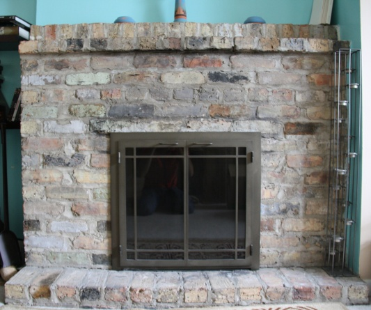 Stone tile over brick fireplace did i make a mistake - Covering brick fireplace with tile ...