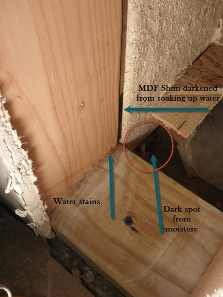Water issue in bathroom at base of the tub and shower plumbing wall-inside-base-shower-plumbing-wall.jpg