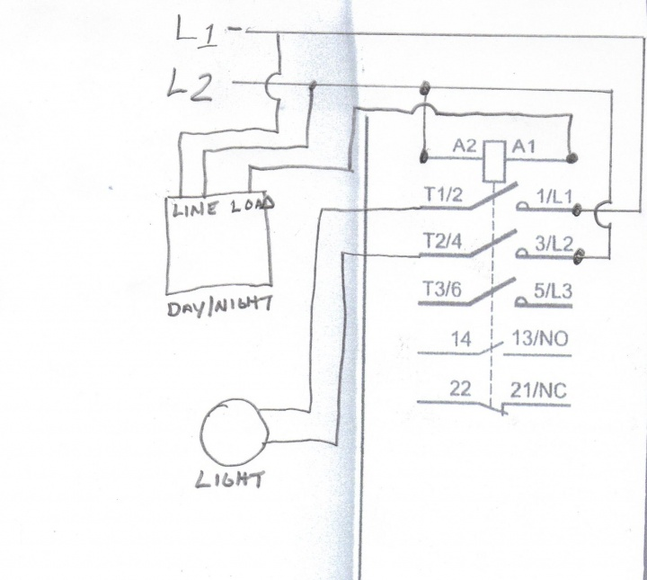 Wiring Of A Contactor Lc1d091o To A Daynight Switch Diy Home Improvement Forum