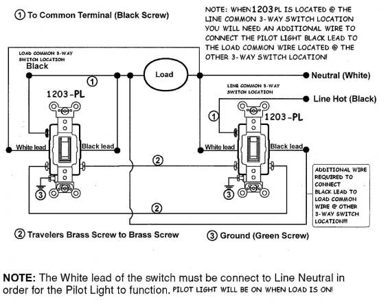 wiring diagram for three-way switches with pilot light ... three switch wiring diagram power from switch #1