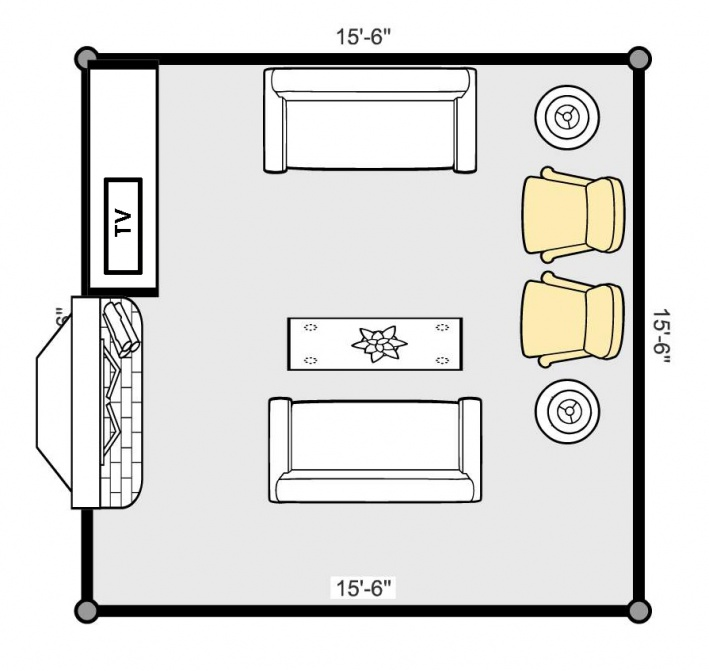 Living room with front door on narrow room furniture placement for tv