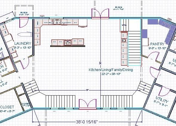 Can stair landing space overlap door landing space?-livingkitchen3238.jpg