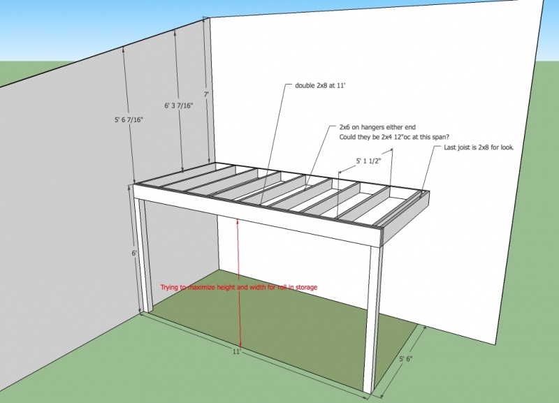 Can I Build 11 X 5 5 Loft With 2x2x8 Beam And 2x4 Joist