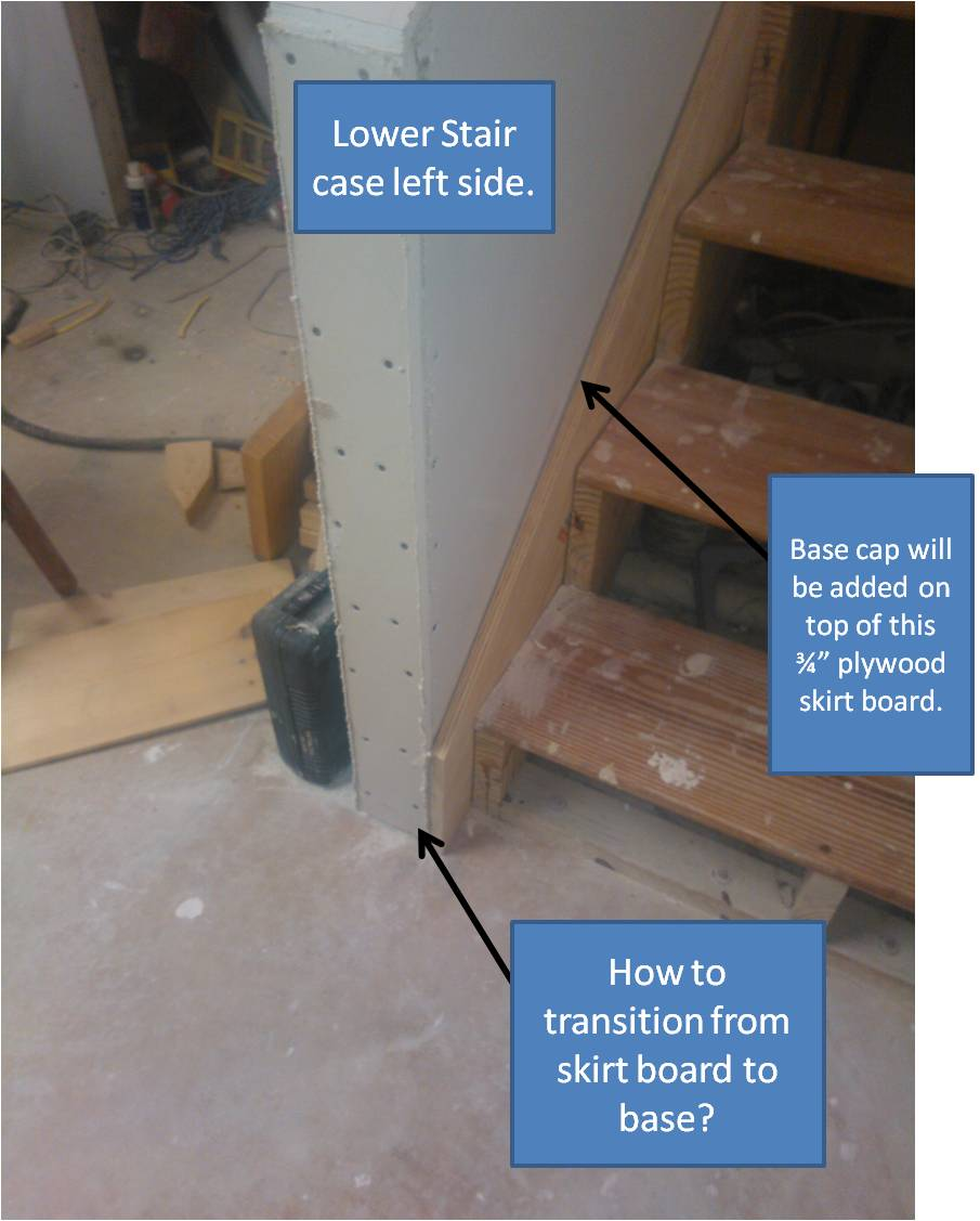 Stair skirtboard - How To Transition From Stair Skirt Board To Base Board