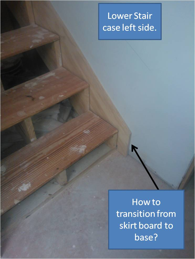 Lower Stair  How To Transition From Stair Skirt Board To Base Board? Lower  Stair