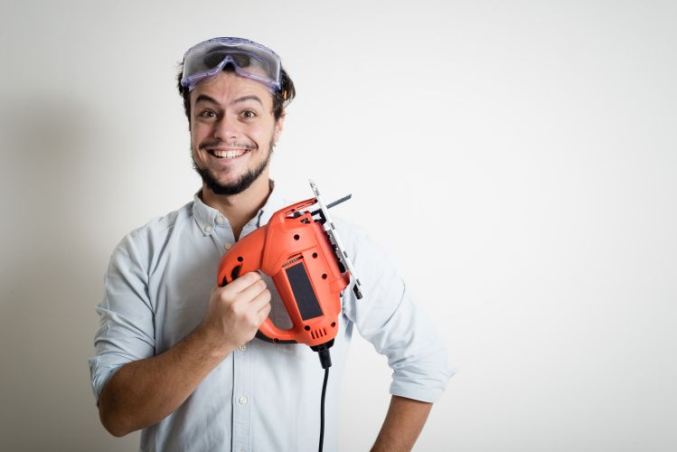 man with saw