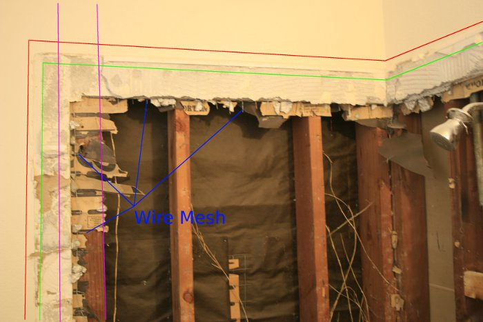 Removing Corner Shower Tile (with pictures)-mesh-drywallaroundshower.jpg