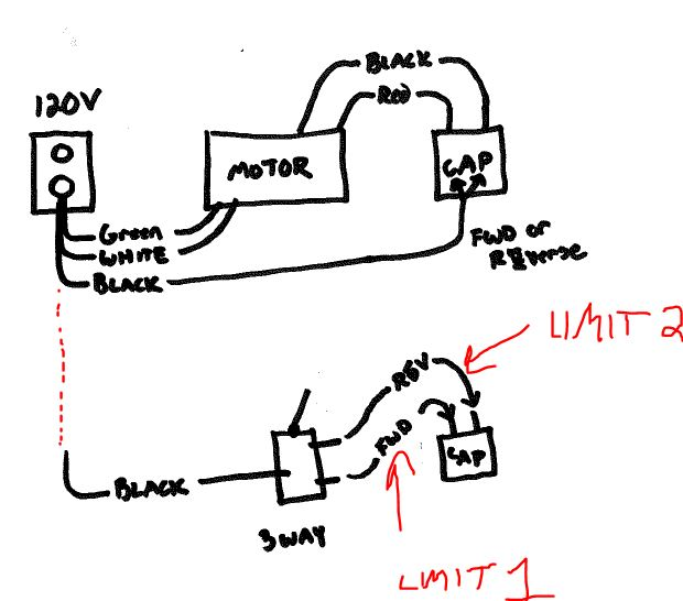 3 way switch  limits  and motor hookup   - electrical