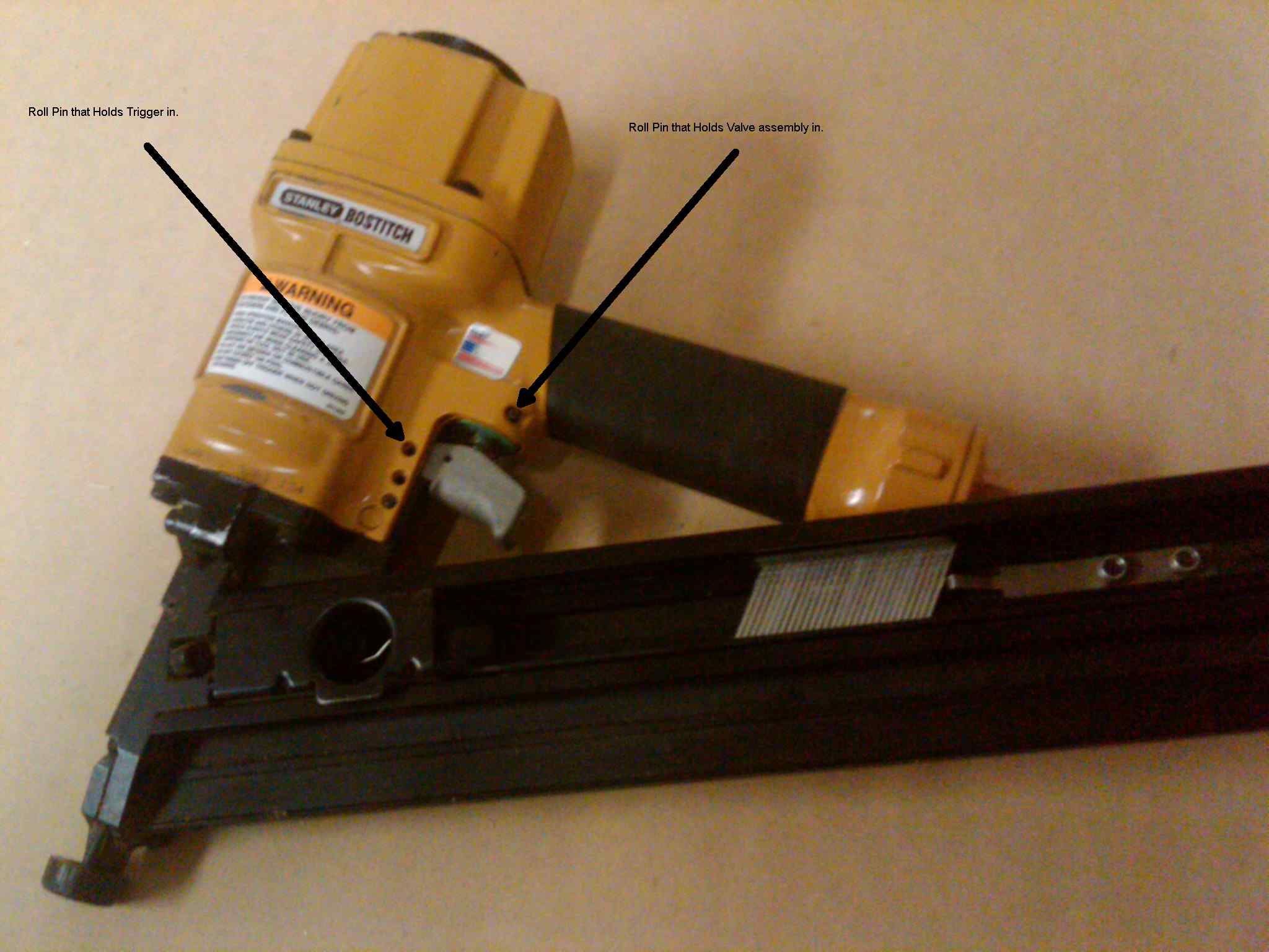 How to replace the trigger valve on a Bostich Nail Gun.-nail-gun-assembled.jpg