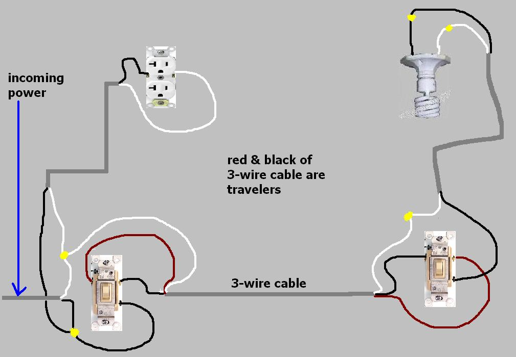 3-way switch to always hot receptacle