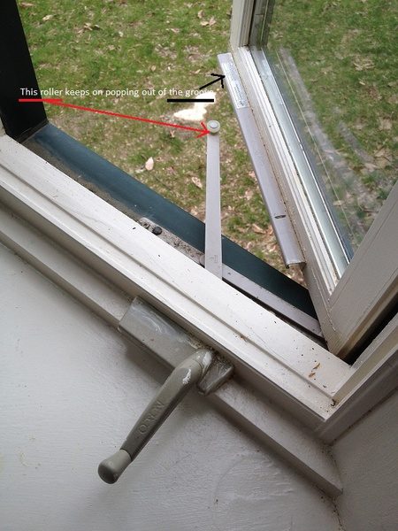 casement window operator roller keeps on popping out windows and