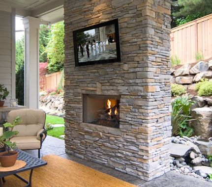 Help how to build a freestanding outdoor wall for tv and - Outdoor fireplace with tv ...