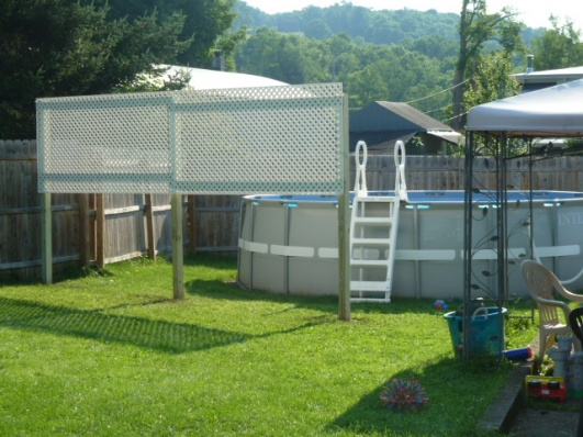 Privacy screen for backyard pool project showcase diy for Above ground pool privacy ideas