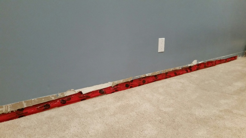 Finishing Basement Walls Vapor Barrier : Finished basement wall with condenstion between drywall