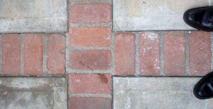 Perfect Tiling Over Concrete Joints On Patio Patio Concrete Slab Divided Bricks