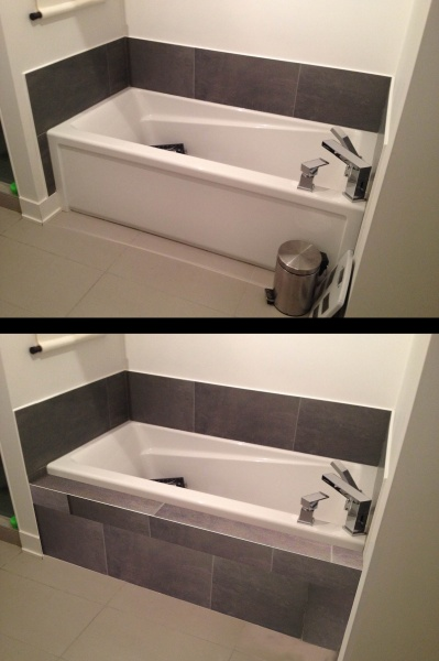 How To Make Tiled Shelf On Front Of Bathtub Kitchen