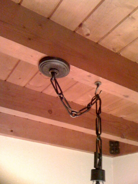 Hanging Chandelier Directly To Exposed Wood Beam Photo4 Jpg