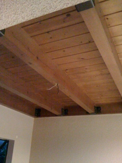 Hanging Chandelier Directly To Exposed Wood Beam