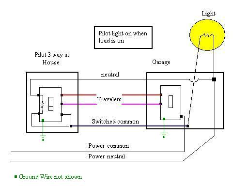 Wiring Diagram For Three-way Switches With Pilot Light ... on california three-way switch diagram, 3-way switch 2 lights, 3-way light circuit, three pole switch diagram, 3-way electrical wiring diagrams, 3-way switch wiring examples, 2 switches 1 light diagram, 3-way switch wiring diagram variations, 3 wire switch diagram, easy 4-way switch diagram, 3-way light switches for one, two lights one switch diagram, 3-way dimmer switch wiring, 3-way switch common terminal, 3-way switch diagram multiple lights, easy 3 way switch diagram, 3-way switch to single pole light, 3-way switch circuit variations,