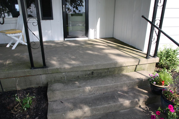 Concrete Block And Raised Pad Porch Negative Slope Needs Replaced Porch1