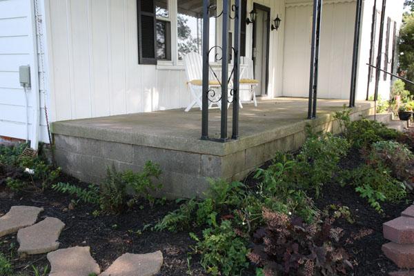 Concrete Block And Raised Pad Porch Negative Slope
