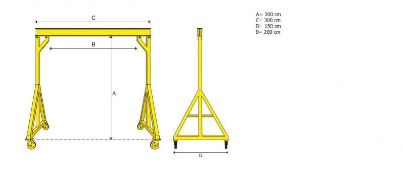 Steel frame gantry crane chain hoist 2 ton-progetto-paranco-madehome.jpg