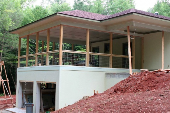 Tiling a screened porch-railing.jpg