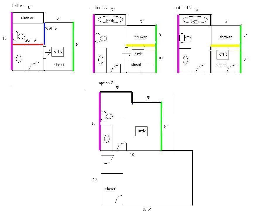 Closet Vs Bathroom Extension Remodel Plan